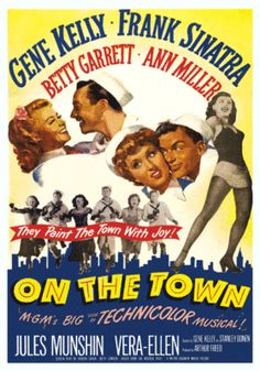 Stunning ON THE TOWN Movie Poster Gene Kelly Frank Sinatra Swing Era Musical on eBay!
