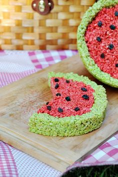 Summer watermelon rice krispies treats -  I made this but didn't use the drink mix as directed. Just used food coloring and chocolate chips instead of raisins. Greta for the summer!!