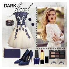"""Lace dress"" by ina-kis ❤ liked on Polyvore featuring Henri Bendel, Rupert Sanderson, Kate Spade, Forever 21, Revlon, NARS Cosmetics, OPI, blueandwhite, makeup and lacedress"