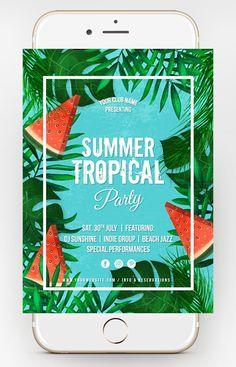 Free summer psd flyer template http://dusskdesign.com/shop/free-tropical-summer-flyer/