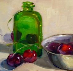 """Cherries and Green Glass Bottle"" - Original Fine Art for Sale - © Mary Douglas"
