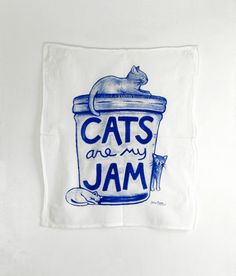 Cats are my Jam Tea Towel : blue print Kitchen Dish by Xenotees