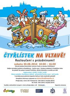 "On Sat Aug 30, 2014, take your kids for a CRUISE through the historic city center of Prague on board of the boat Cecilie-Czech cartoon ""Čtyřlístek"" (quatrefoil) MASCOTS, DISCO FOR KIDS & CONTESTS! The ship is leaving port @10 am, 12 pm and 2 pm. Duration:50 min. http://divadlovparku.cz/akce/ctyrlistek-na-vltave/ #kids #czech #prague #eatingprague #travel #cruise #boat #river #ship #cartoon #disco #contest"