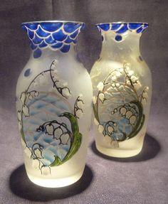 Pair Leg Glass Vase Worked Acid Art Nouveau Enamelled Signed Legras