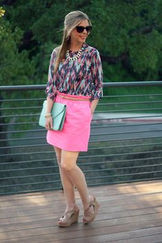 Wallis Fashion Top. J.Crew Factory Outlet Skirt. Spring outfit idea. P