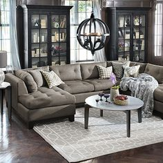 "Garner 136"" Upholstered Three Piece Sectional in Team Mineral"