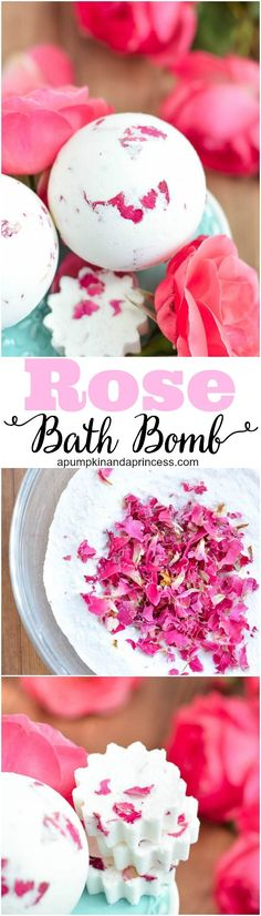 DIY Rose Milk Bath Bomb - how to make a rose bath bomb infused with nourishing skin oils and rose petals. This makes a beautiful handmade gift for moms! Diy Rose, Diy Gifts Cheap, Diy Cadeau Noel, Rose Milk, Diy Beauté, Easy Diy, Diy Crafts, Rose Crafts, Homemade Bath Bombs