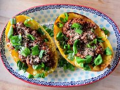 Get Spaghetti Squash Bolognese Recipe from Food Network Veggie Dishes, Pasta Dishes, Vegetable Recipes, Beef Recipes, Cooking Recipes, Healthy Recipes, Skillet Recipes, Vegetable Sides, Pasta Recipes