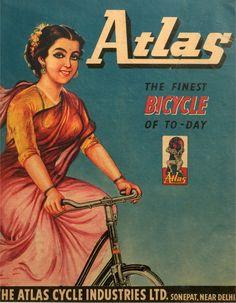 Atlas Bicycle Advertisement - India 1973 - Old Indian Arts Look Vintage, Vintage Ads, Vintage Prints, Vintage Branding, Vintage Advertising Posters, Old Advertisements, Vintage Posters, Indian Art History, History Of India