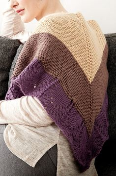 Free Knitting Pattern for Comfort Shawl - Three-color triangular shawl with two sections of garter stitch with lace edge. Designed by Bernat.