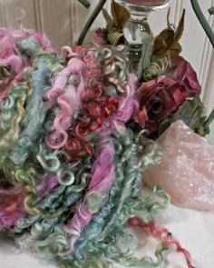 Handspun Art Yarn  Curly Wool Yarn  OOAK Super Bulky Yarn