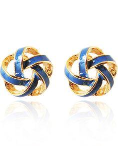 4.60 Blue Glaze Gold Twine Stud Earrings