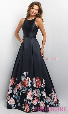 Floral Print Long Prom Dress at PromGirl.com