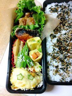 シャケが、焦げちゃいました(T_T) - 6件のもぐもぐ - 生姜焼き、シャケ、卵焼き、ポテトグラタン、簀巻きと榎和え 息子くん弁当です。 by hanayak