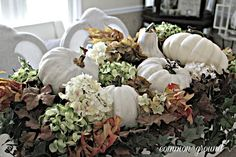 Common Ground: Window Box Centerpiece for Fall (use dried hydrangea in outside window boxes)
