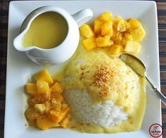 Easy sticky rice with mango sauce. Fast and inexpensive recipe for coconut sticky rice served two ways-traditional coconut sauce and divine mango sauce.