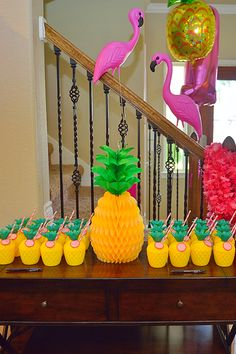 Pineapple Party for Lucy's Birthday A bright, fun and tropical pineapple themed birthday party - even if it was a few days before Christmas!A bright, fun and tropical pineapple themed birthday party - even if it was a few days before Christmas! Luau Theme Party, Hawaiian Party Decorations, Moana Birthday Party, Luau Birthday, Festa Party, 2nd Birthday Parties, Birthday Party Decorations, Kids Luau Parties, Hawaiian Parties