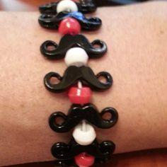 5 Pack Red White Black Mustache Bracelets by StacheMeIfYouCan, $4.25
