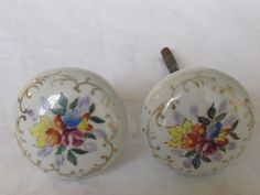 Antique Vintage Porcelain Hand Painted Door Knob