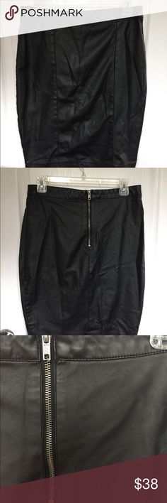 Leatherette Black Pencil Skirt Faux leather pencil skirt with exposed zipper in the back.  Has a bit stretch.  Fitted. Topshop Skirts Pencil
