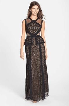 Love the BCBG Max Azria 'Vivana' Embroidered Mesh Peplum Gown on Wantering.