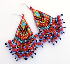 Seed bead fringed earrings