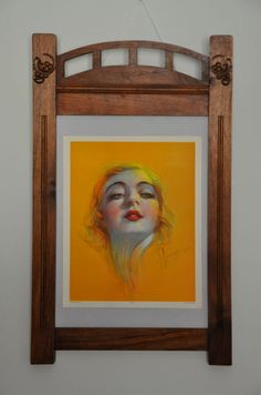 "Online veilinghuis Catawiki: Giovanni Guerzoni - ""Volto femminile"" in Art Nouveau frame"