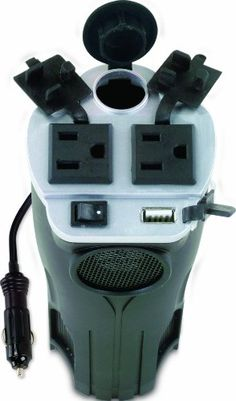 Charger for everything fits in a cup holder in the car. Rally 7413 200W Cup Holder Power Inverter with USB Port