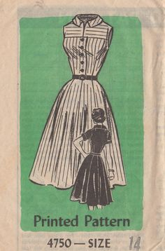 1950s Mail Order 4750  Misses Yoked Shirtwaist Dress Pattern Gored Skirt womens vintage sewing pattern by mbchills