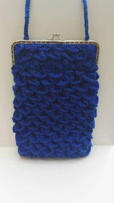Crocodile Stitch, Blue Bags, Creations, Shoulder Bag, Sewing, Silver, Purse, Bags, Tricot