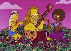 Simpsons, hippie Homer Simpson plays the sitar Cartoon Cartoon, Simpsons Simpsons, 70s Aesthetic, Happy Hippie, Hippie Life, Hippie Hair, Gifs, Futurama, Psychedelic Art