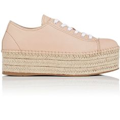 Miu Miu Women's Leather Platform Espadrille Sneakers ($595) ❤ liked on Polyvore featuring shoes, sneakers, light pink, lace up sneakers, lace up espadrilles, woven leather sneakers, woven sneakers and platform shoes