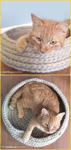 Crochet Tabby Chic Cat Bed Free Pattern - Crochet Cat House Patterns