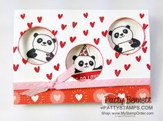 """Party Pandas Stampin' UP! Sale-a-Bration set (free gift with purchase through March 31, 2018) Valentine or """"I Love You"""" card idea from Patty Bennett"""