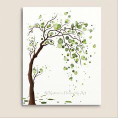 Green Tree Watercolor Art 8 x 10 Print Love by NaturesHeavenlyArt