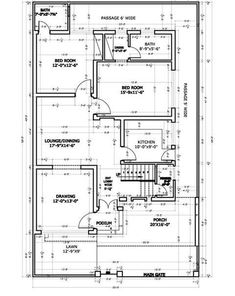 10 Marla House Plan, 2bhk House Plan, Narrow House Plans, House Plans Mansion, Free House Plans, Three Bedroom House Plan, Simple House Plans, Beautiful House Plans, Model House Plan