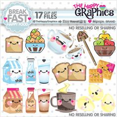 Breakfast Clipart, Breakfast Graphics, COMMERCIAL USE, Kawaii Clipart, Food Graphics, Fruits, Planner Accessories, Meal, Breakfast Party