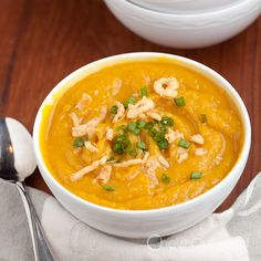 This sweet and savory butternut squash soup is taken up a notch with curry and roasted garlic. The flavors blend perfectly. Tasty side dish or starter.