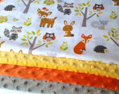 Baby Blanket  Made to Order  Forest Animal Minky Blanket