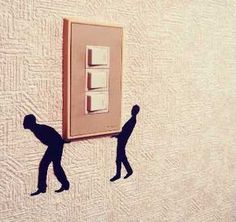 """Wall Story"" Removable Silhouette Stickers Turn On Your Light Switch    ---  from InventorSpot.com --- for the coolest new products and wackiest inventions."