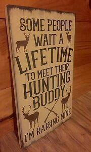 Deer Hunting Buddy Rustic Wood Sign Primitive Cabin Camp Decor Wooden Nursery in Home & Garden, Home Décor, Plaques & Signs Baby Boy Rooms, Baby Boy Nurseries, Country Baby Rooms, Rustic Wood Signs, Wooden Signs, Rustic Decor, Plank, 1 Samuel 1 27, Design Thinking