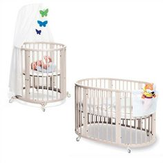 Crib in white - I love the fact the bassinet set up can wheel into our room for the first few months