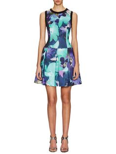Drop Waist Scuba Pleated Dress  by Vince Camuto at Gilt