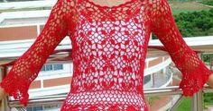 Blusa calada tejida con ganchillo - con patrones
