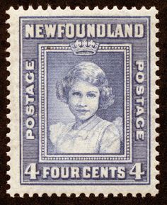 "Newfoundland  1941 Scott 256 4c blue ""Princess Elizabeth"" 1938 Portrait, Age 12- Note the crown hovering over her head"