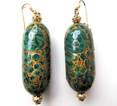 Vintage Paper Mache Earrings Hand Painted from Kashmir.  - DESPERATELY WANT!