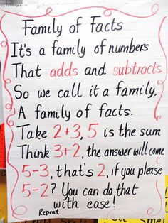 Family of Facts poem for   First Grade Wow