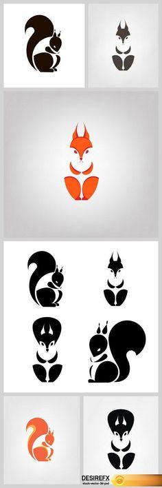 Find your Grapfix Desire With US http://www.desirefx.me/silhouette-squirrel-logo-design-6x-eps/