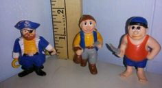 Lot of 3 vintage rubber pirate figures SOMA Pirates little toys 2in Early 90's #Soma