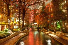 "Buy the royalty-free Stock image ""Christmas lights at riverwalk in San Antonio, Texas, USA"" online ✓ All image rights included ✓ High resolution picture. San Antonio Riverwalk, Christmas Town, Christmas Lights, Christmas Travel, Christmas Vacation, Christmas Images, Great Places, Places To Visit, Paisajes"